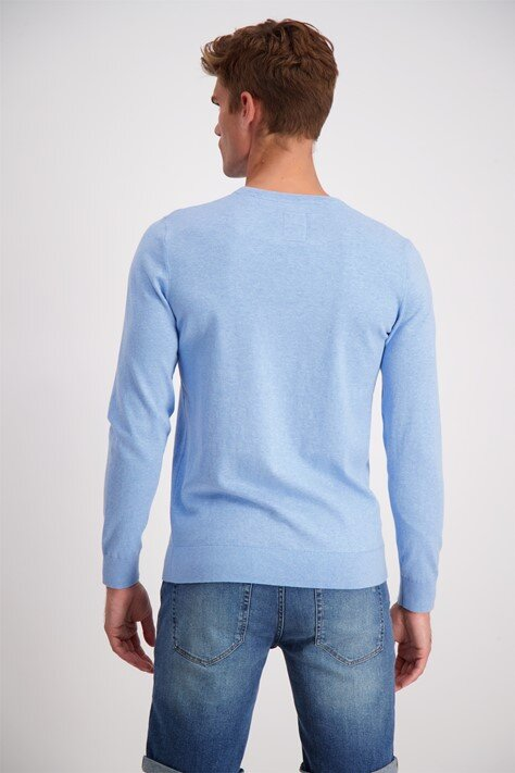 Bomullströja o-neck - Lt Blue Mel