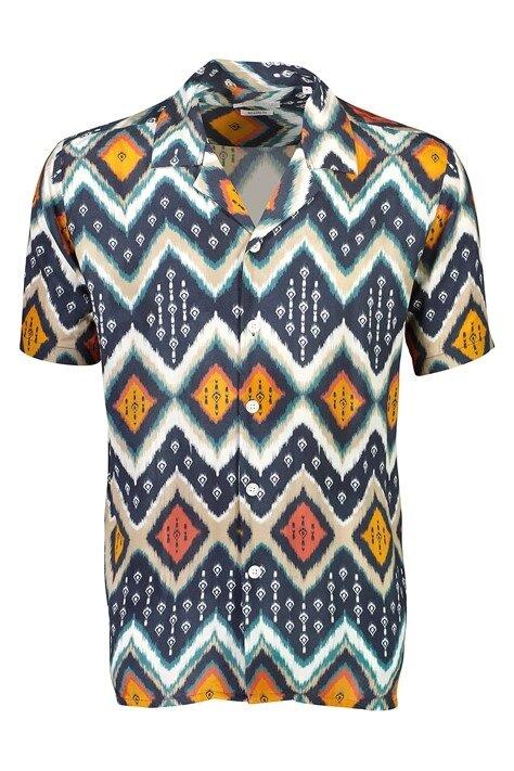 Mönstrad Skjorta kortärmad - Dark Blue