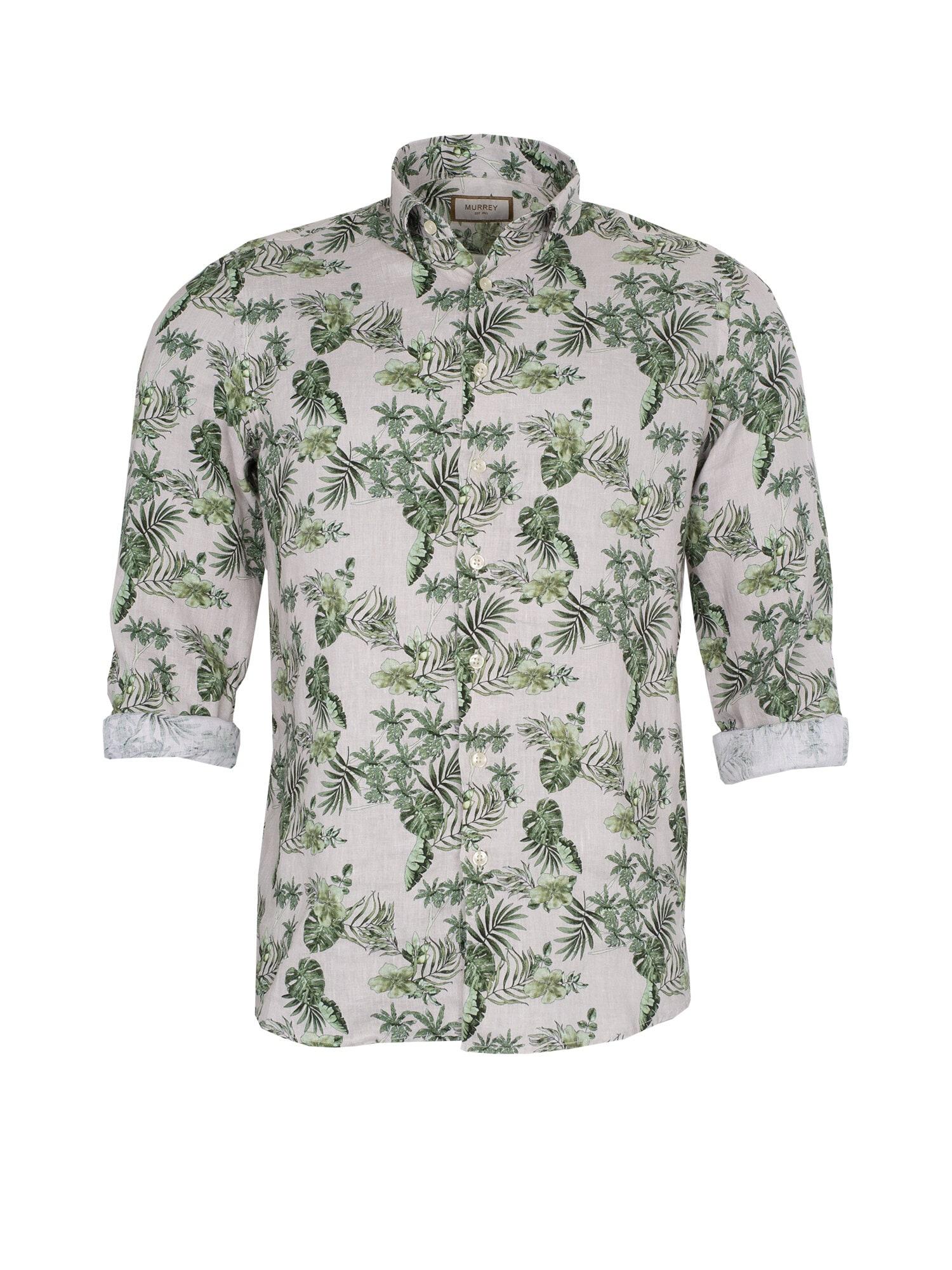 Linneskjorta med blad - Lt Khaki