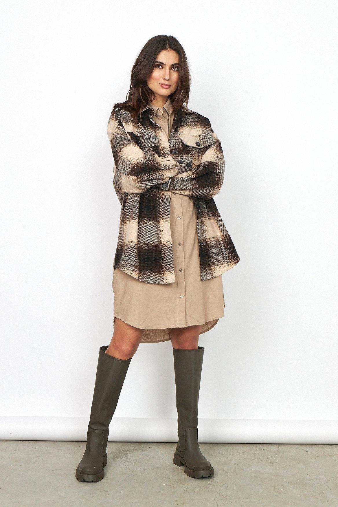Lania Oversize Skjorta - Brown Combi