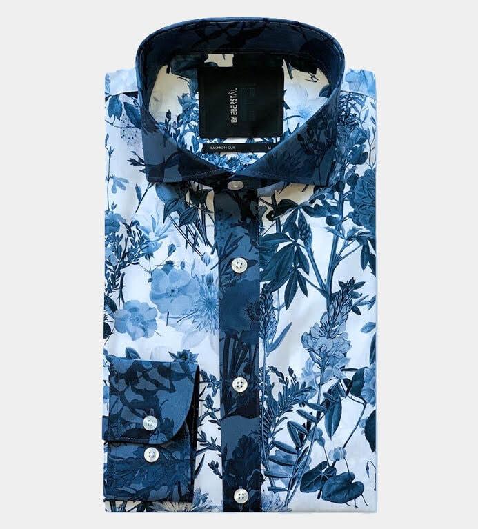 Designad Blomster Skjorta - Mönstrad Blå
