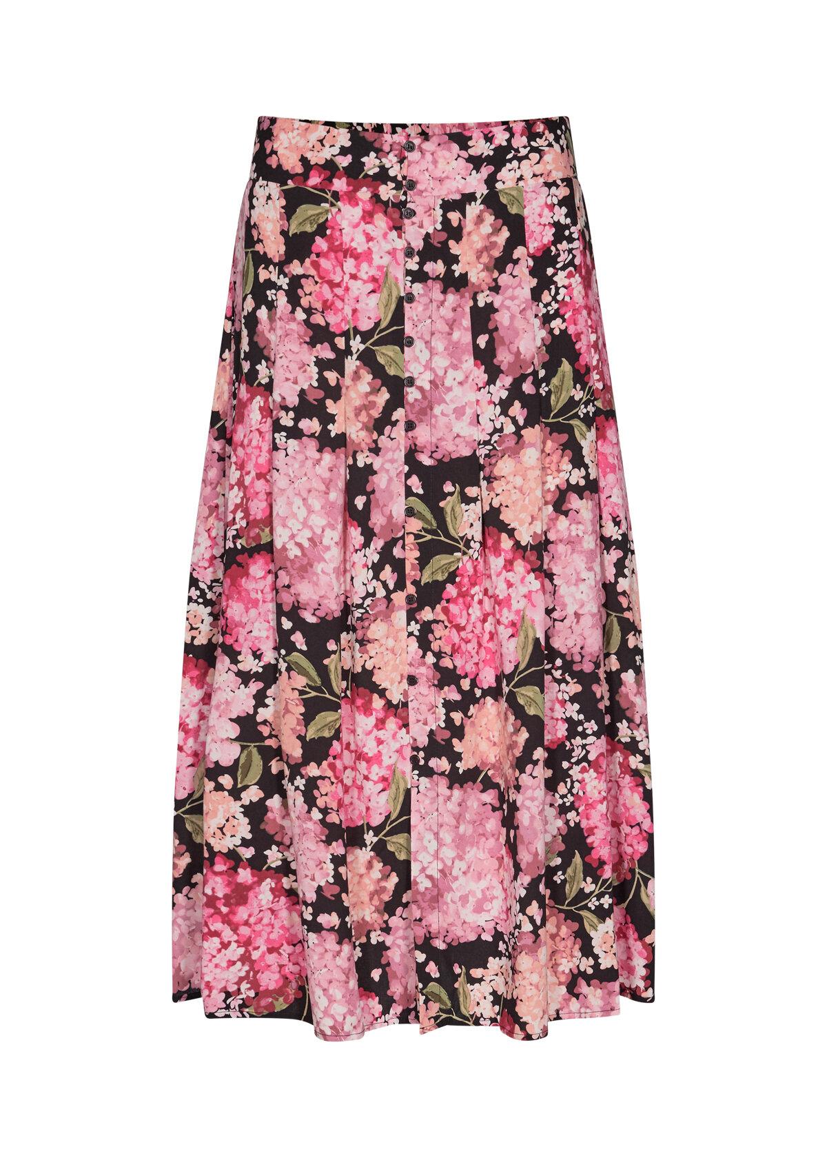 Paris Blommig Viskoskjol - Pink Combi