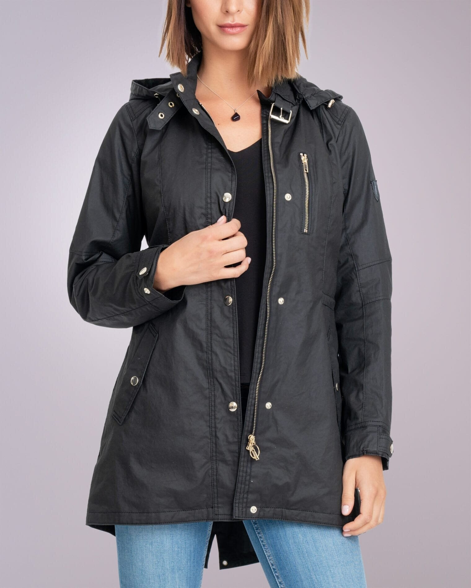 Hooded Canvas Jacket - Black