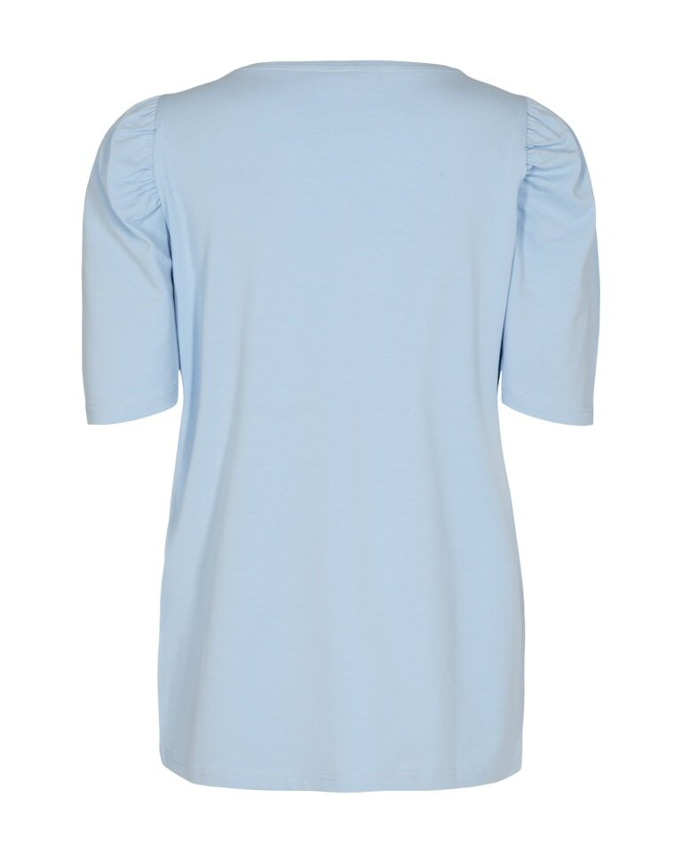 Fenja T-Shirt med puffärm - Chambray Blue