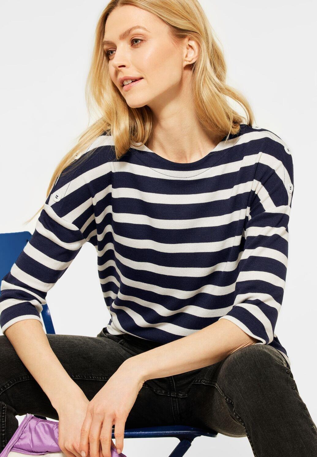 Button Stripe Shade Tröja - Deep Blue