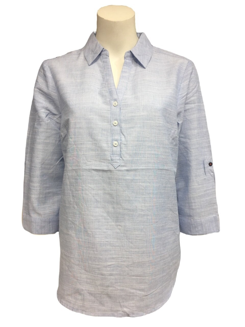 Chambray Skjortblus  - Lt Blue