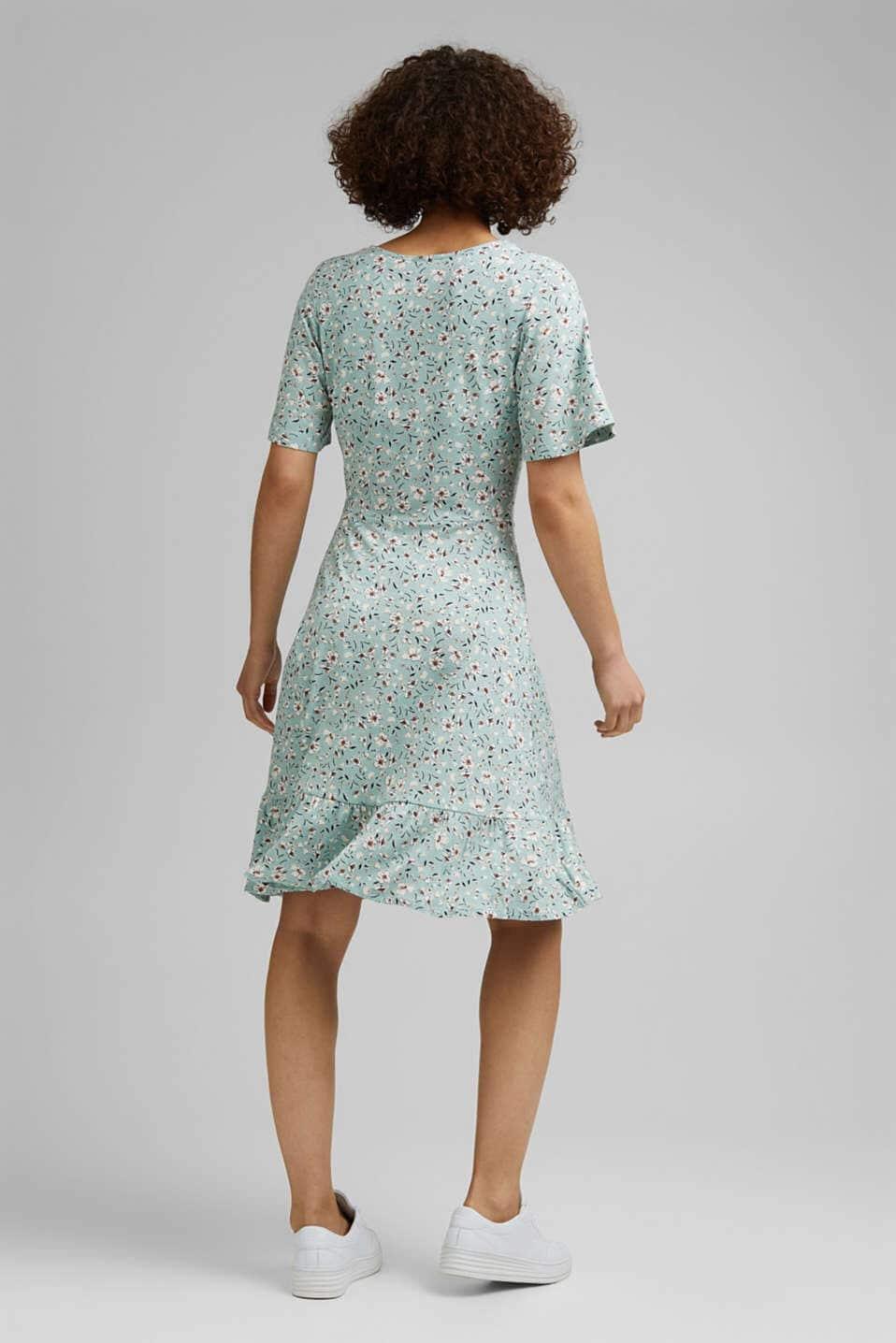 Blommig Omlottklänning - Lt Aqua Green