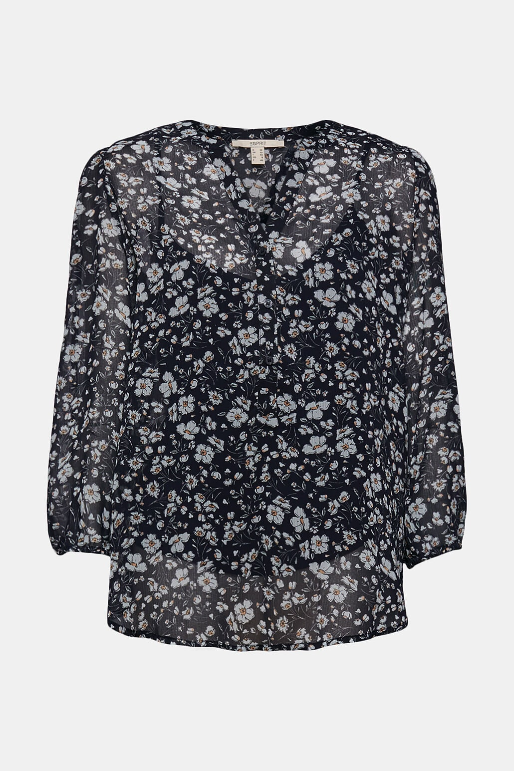 Blommig Chiffongblus - Navy