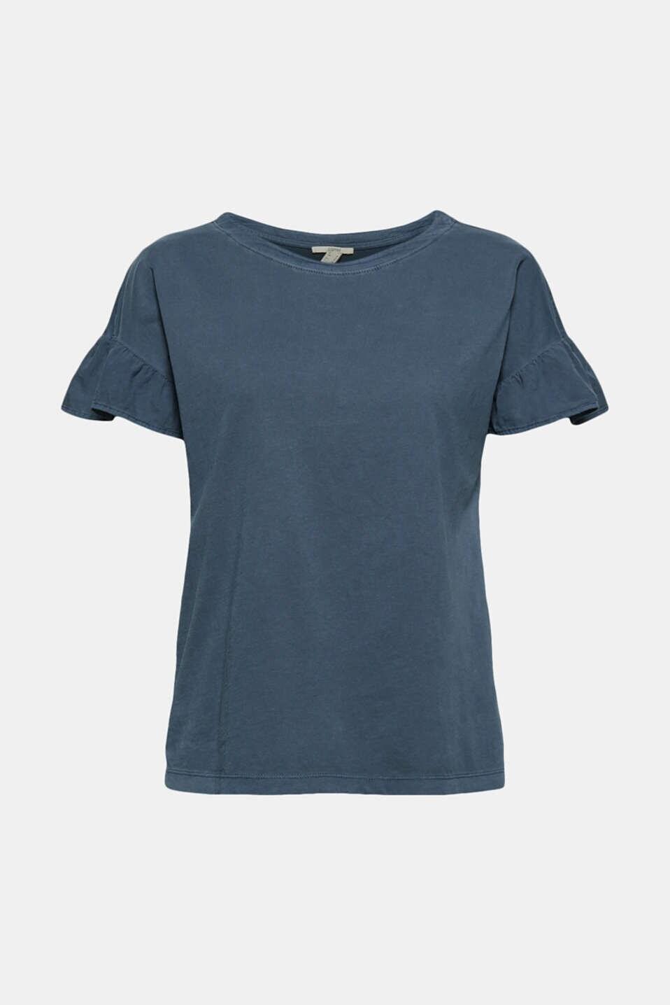 T-shirt Med Volang Ärm - Navy