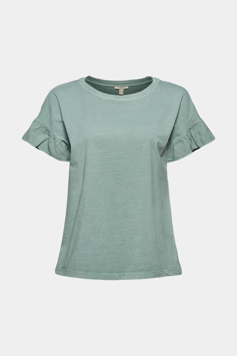 T-shirt Med Volang Ärm - Turquoise