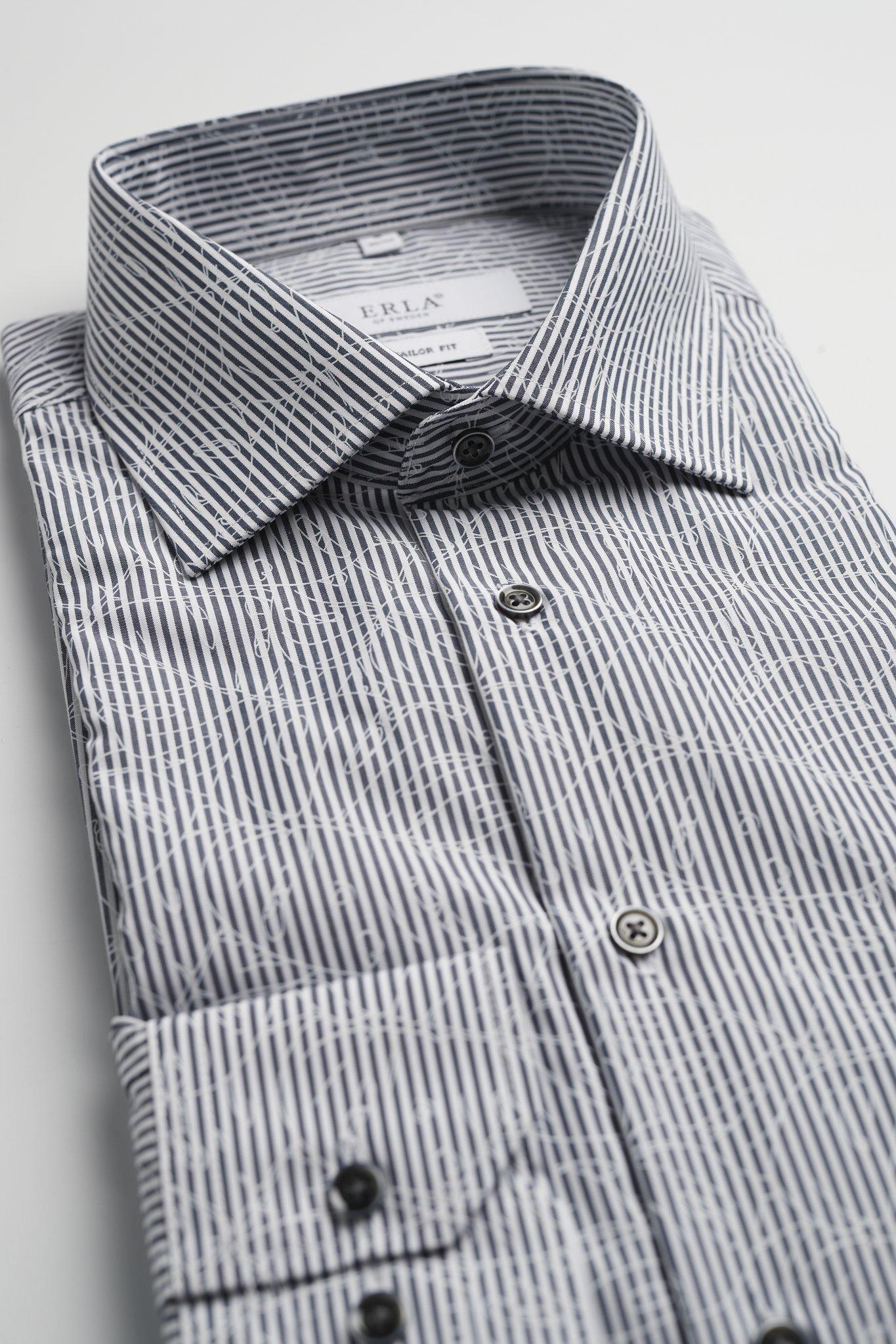 Kortärmad Randig Skjorta - Grey