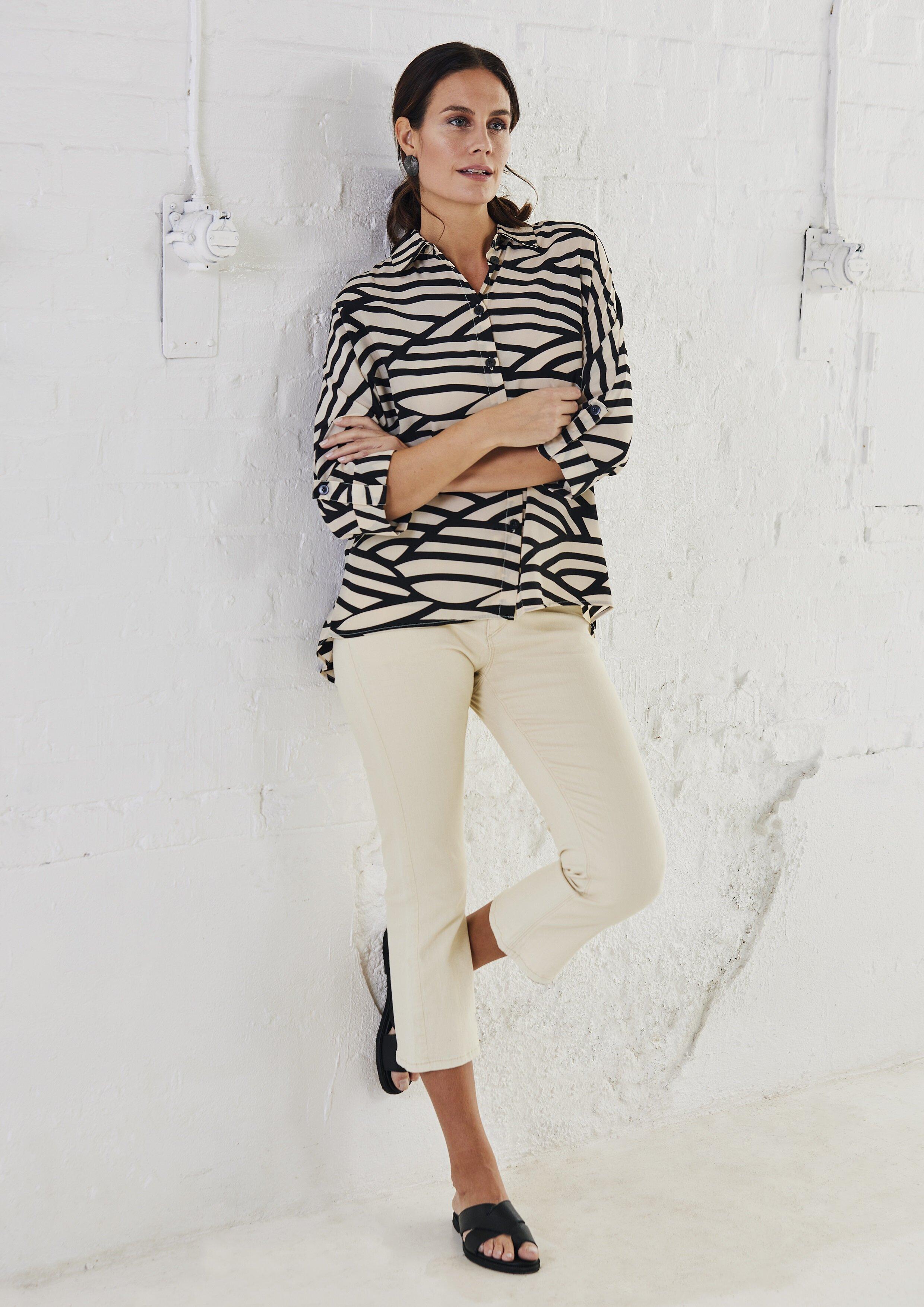 Mönstrad Oversize Skjorta - Clay