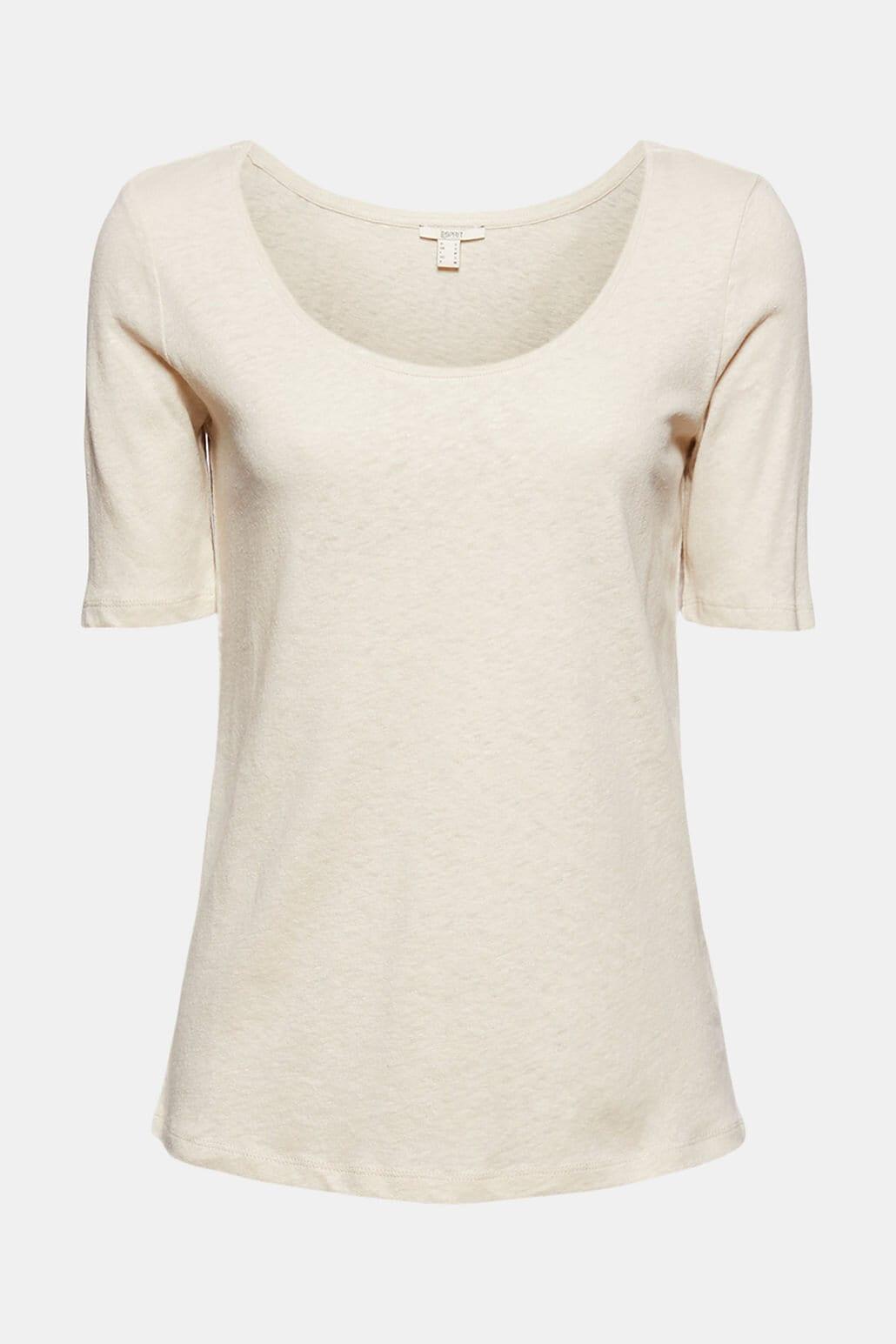 T-shirt i Linne - Light Beige