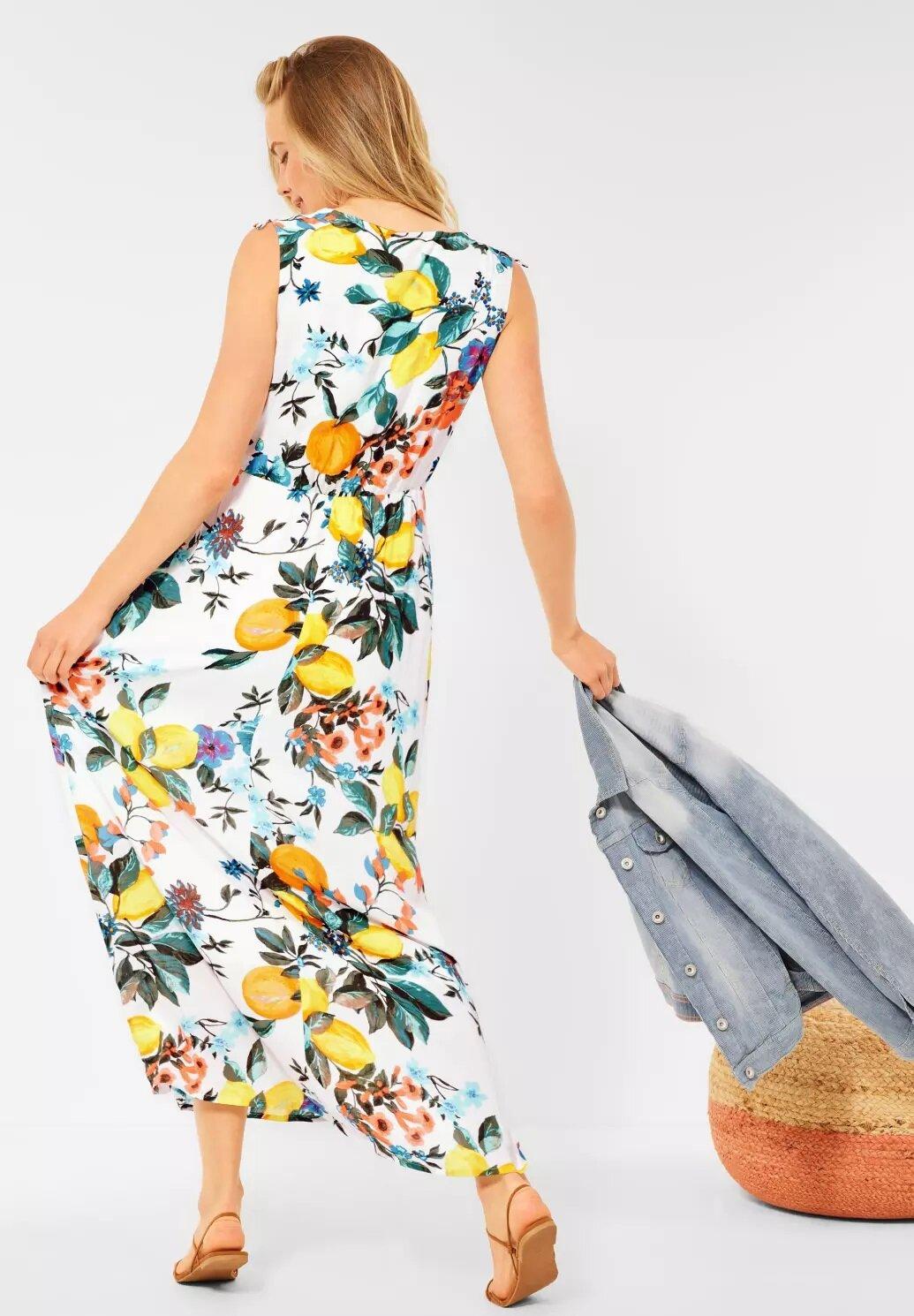 Långklänning med citroner - Pure Offwhite