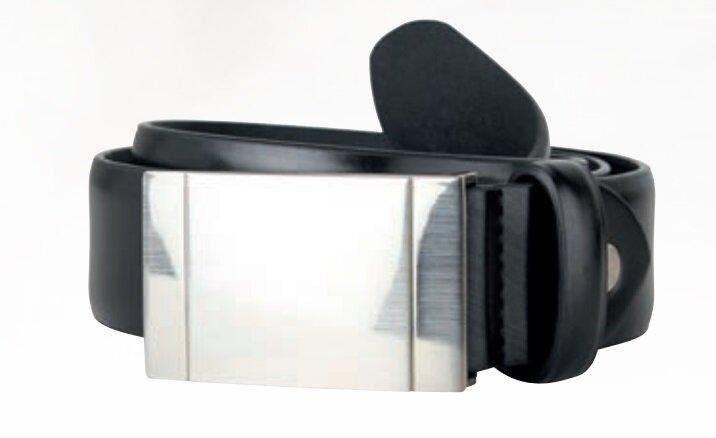 Läderbälte Med Bricka - Black