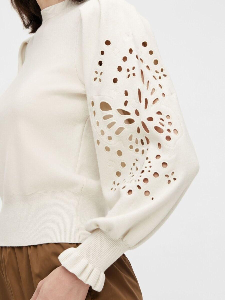 Stickad tröja med brodyr - Silver Gray