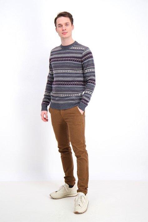 Jacquard Wool O-neck Knit - Grey Mel
