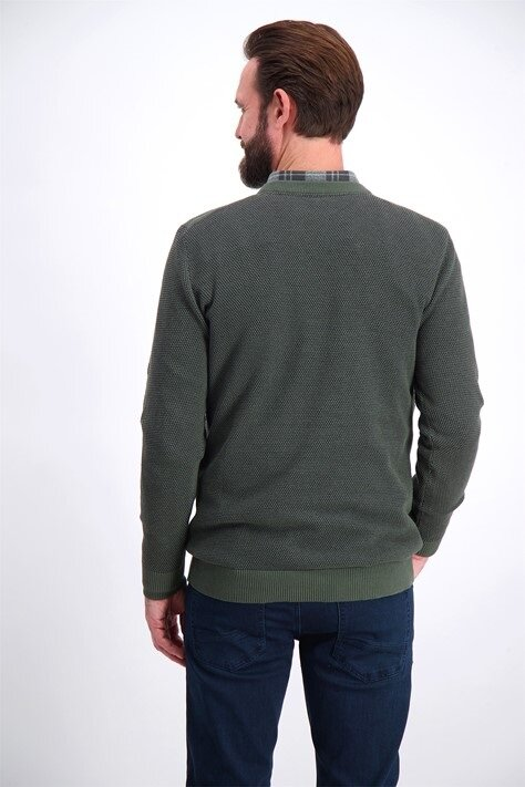 Structure O-neck Knit - Army Mix