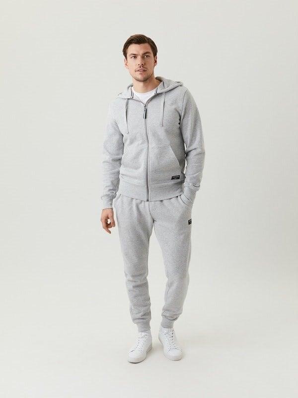 Centre Zip Hoodie - Light Grey Melange