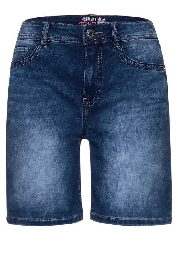 Jeansshorts tvättad look - Denim