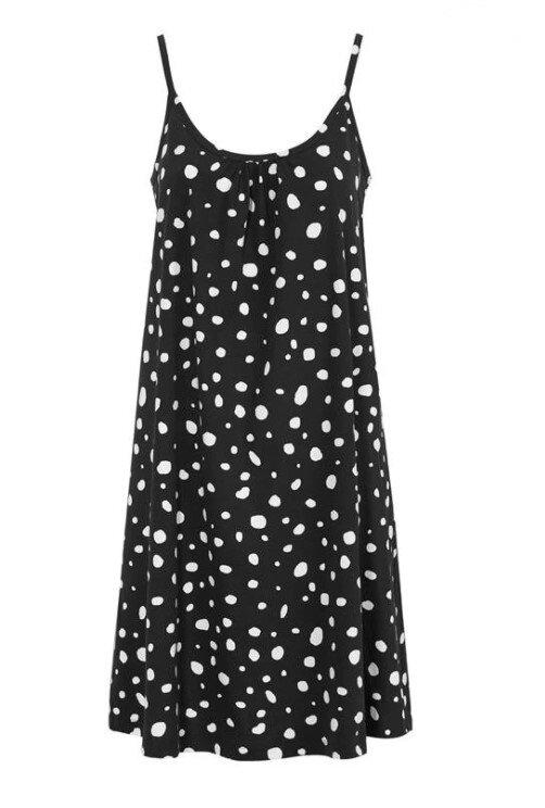 Prickig klänning i ekobomull - Black