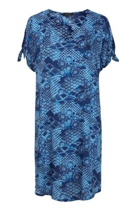 Blå Mönstrad Strandklänning - Blue