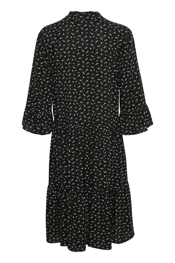 Mönstrad Viskosklänning - Black Flower Branches