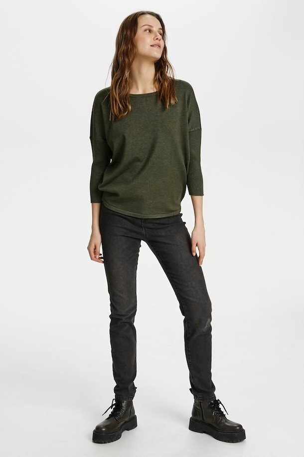 Slätstickad Tröja Oversize - Army Green Melange