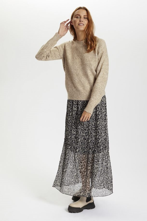 Isabella - Stickad tröja - Beige Melange