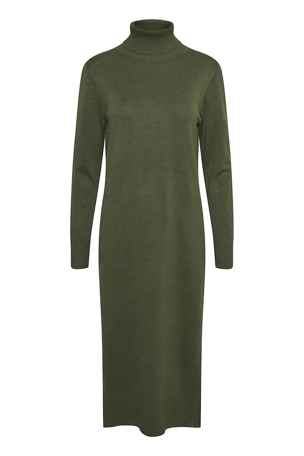 Lång Stickad Poloklänning - Army Green Melange