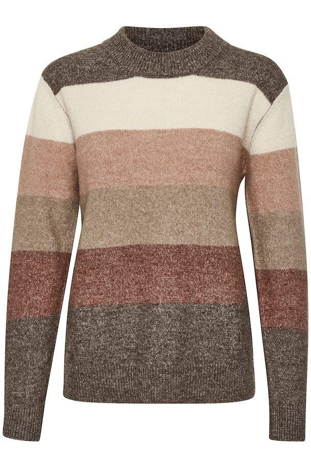 Blockrandig tröja - Brown Melange Wide Stripe