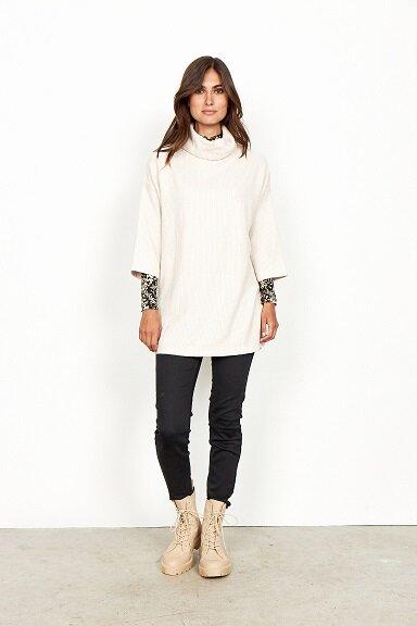 Ribbad tröja - Cream Melange