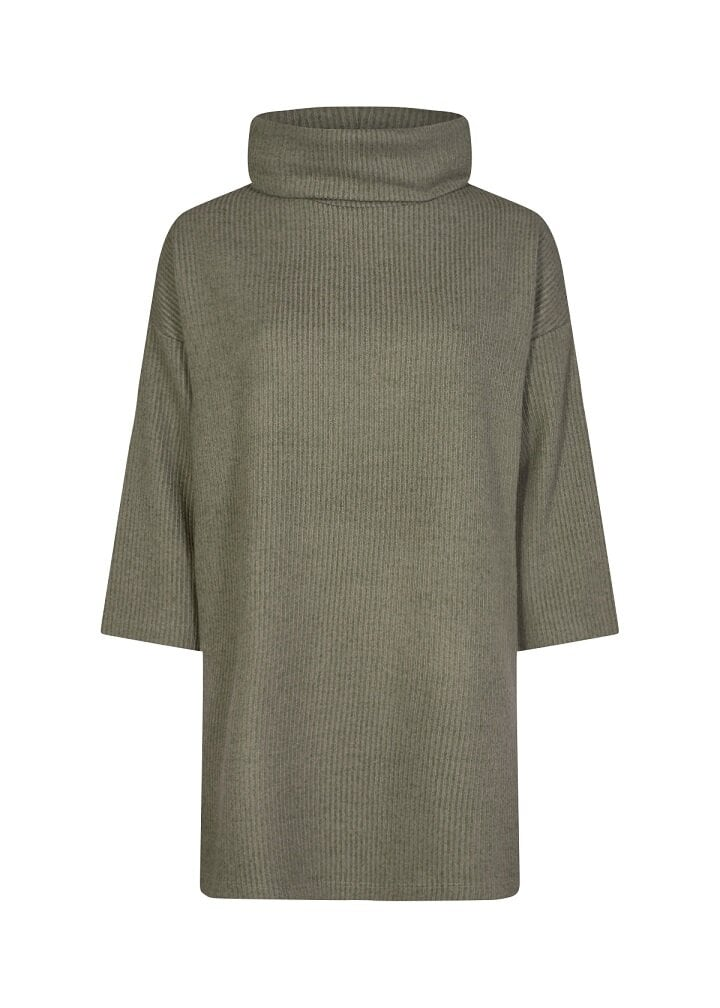 Ribbad tröja - Dusky Green Melange