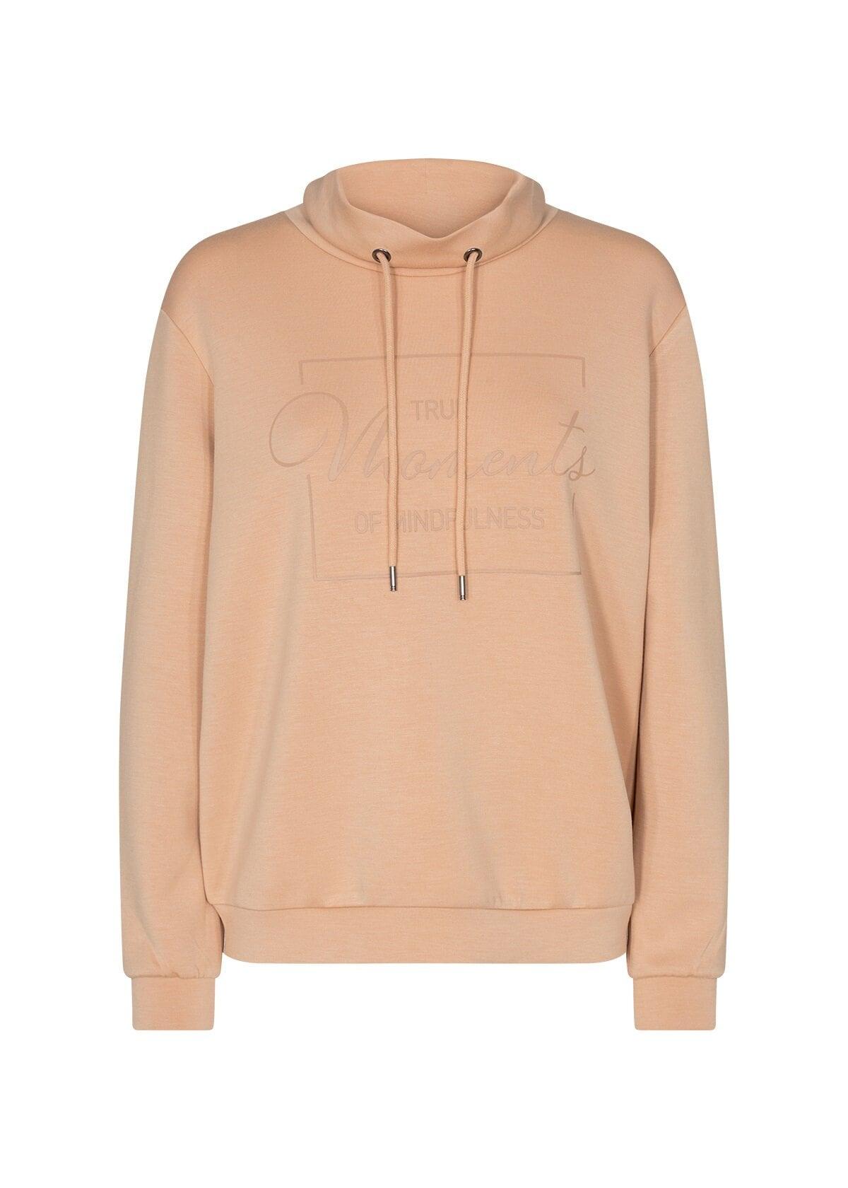 Sweatshirt med polokrage - Camel